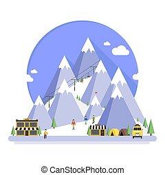 recours, ski, hiver, montagnes, temps