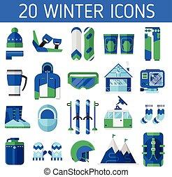 recours, ski, icônes