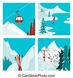 recours, ski, montagnes.