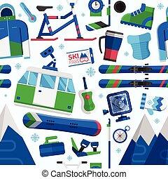 recours, ski, seamless, modèle