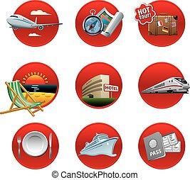 recours, voyage, ensemble, icône