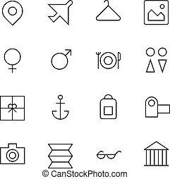 recours, voyage, ligne, mince, icônes