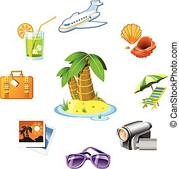 recours, voyage, vacances, icônes