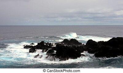 recouvrement, contre, rivage, vagues, rocheux