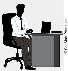 recouvrement, homme, silhouette, bureau