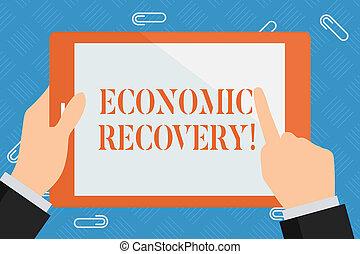 recovery., 景気後退, 端, 指すこと, タブレット, カラー写真, 提示, 上昇, screen., 執筆, ビジネス, showcasing, 感動的である, 経済, シグナリング, 保有物, 活動, 概念, 白, 手