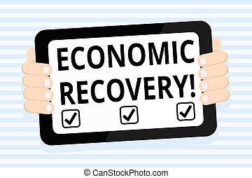 recovery., 景気後退, smartphone, 端, ビジネス, タブレット, カラー写真, スクリーン, 上昇, 背中, ハンドヘルド, 執筆, メモ, 経済, シグナリング, 活動, showcasing, gadget., 提示