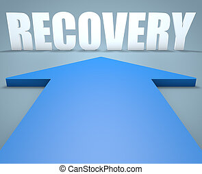 Recovery - 3d render concept of blue arrow pointing to text.