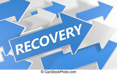 Recovery 3d render concept with blue and white arrows flying upwards over a white background.