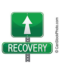 recovery street sign isolated over white