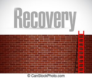 recovery ladder illustration design over a brick wall background