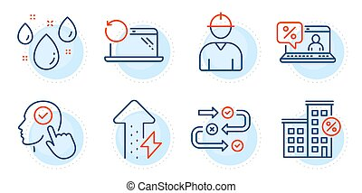 Recovery laptop, Select user and Rainy weather icons set. Loan house, Energy growing and Online loan signs. Vector