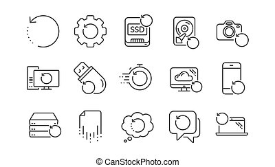 Recovery line icons. Backup, Restore data and recover file....