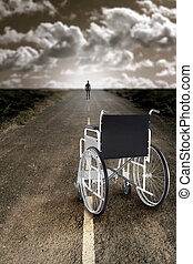 Man abandons the wheelchair and recommences to walk