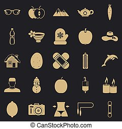 Recovery of health icons set, simple style - Recovery of ...