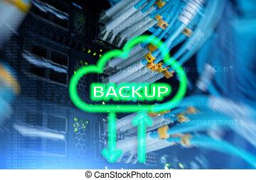recovery., perte, salle, sauvegarde, bouton, moderne, système, serveur, arrière-plan., prevention., données