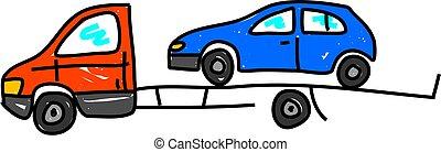 a recovery truck transporting a broken down car - truck art series