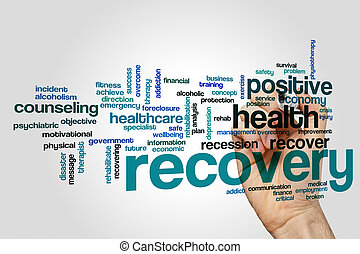 Recovery word cloud concept