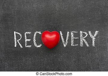 recovery word handwritten on blackboard with heart symbol instead of O