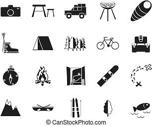recreação, ícones, férias, &, viagem, pretas, branca, set.