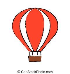recreação, airballoon, cor, viagem, esboço, férias