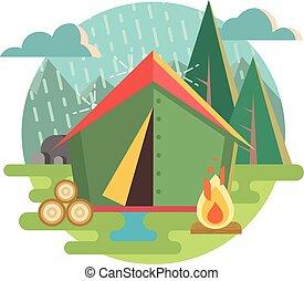 recreação, ao ar livre, acampamento