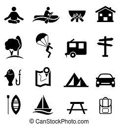 recreação, atividades, e, lazer, ícones