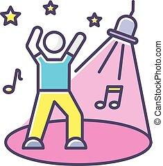 recreação, danceteria, icon., holofote, partido., clubber, ...