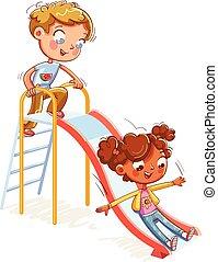 recreação, entretenimento, parque, deslizamentos, crianças, complexo, escadas