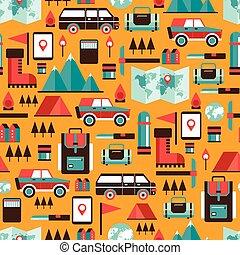 recreação, hiking, acampamento, padrão, viagem, férias, seamless, fundo, desporto