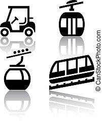 recreação, jogo, -, transporte, ícones