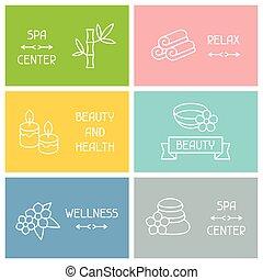 recreação, linear, ícones negócio, estilo, cartões, spa