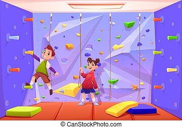 recreação, tocando, parede, área, escalando, crianças