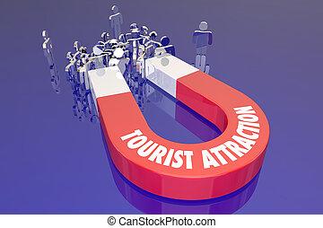 recreação, turista, viaje destino, ímã, atração, palavras,...