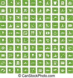 recreación, conjunto, grunge, iconos, agua, verde, 100