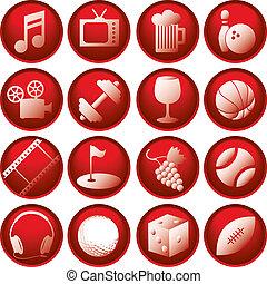 recreación, icono, botones