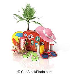recreación, palmas, viejo, shoes, señal, sol, concept., ...