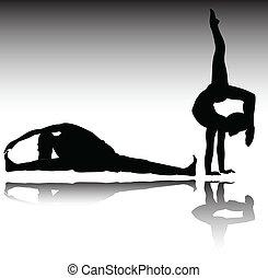 recreación, siluetas, vector, gimnasio