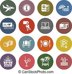 recreación, viaje, y, vacaciones, iconos, conjunto