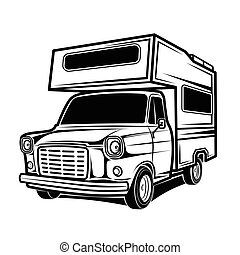 recreatief, busjes, karavanen, voertuigen, kampeerder, rv, auto's