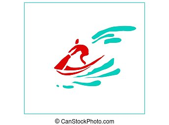 Recreation and sports on the water. Stylized image of a man on a jet bike.