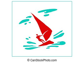 Recreation and sports on the water. Stylized image of a man on a sailing board.
