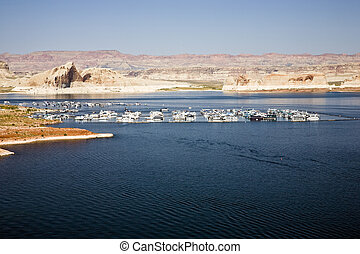 Recreation are with boats on Lake Powell near Page in Arizona, USA