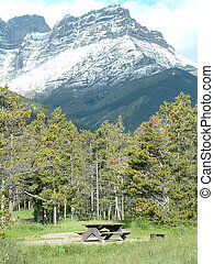 Camping site in Waterton Lakes national park, Canada.