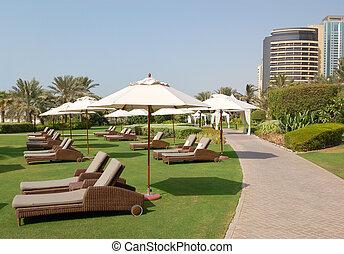 Recreation area of luxurios hotel, Dubai, UAE