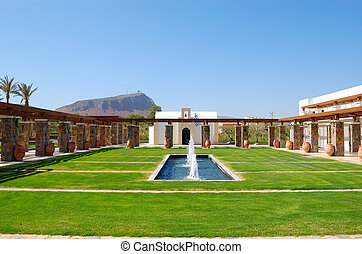 Recreation area of the luxury hotel, Crete, Greece