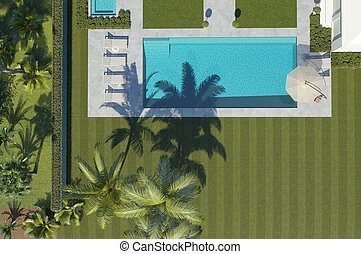 recreation area with pool top view. 3d rendering