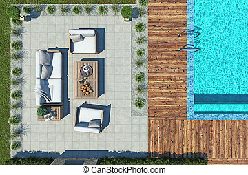 recreation area with sofas and swimming pool top view. 3d rendering