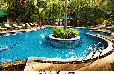 Recreation area with swimming pool