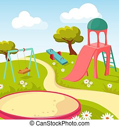Recreation children park with play equipment vector illustration